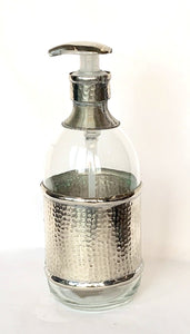 Large soap dispenser with beaten silver detail