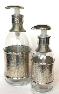 Glass soap dispenser with metal detail