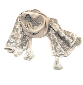 Grey Embroidered handmade scarf