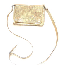 Load image into Gallery viewer, Gold leather handbag with silver studs