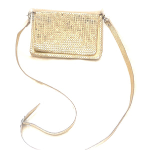 Gold leather handbag with silver studs