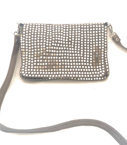 Grey suede bag with studs