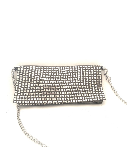 Small grey handbag with silver studs