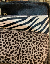 Load image into Gallery viewer, Zebra print Italian leather clutch purse with hand strap
