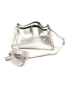 silver leather handbag with silver studs