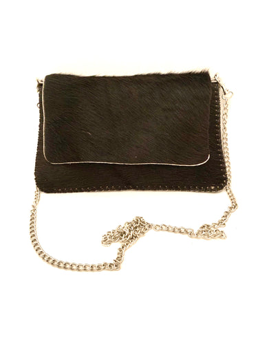 black pony skin bag with chain shoulder strap