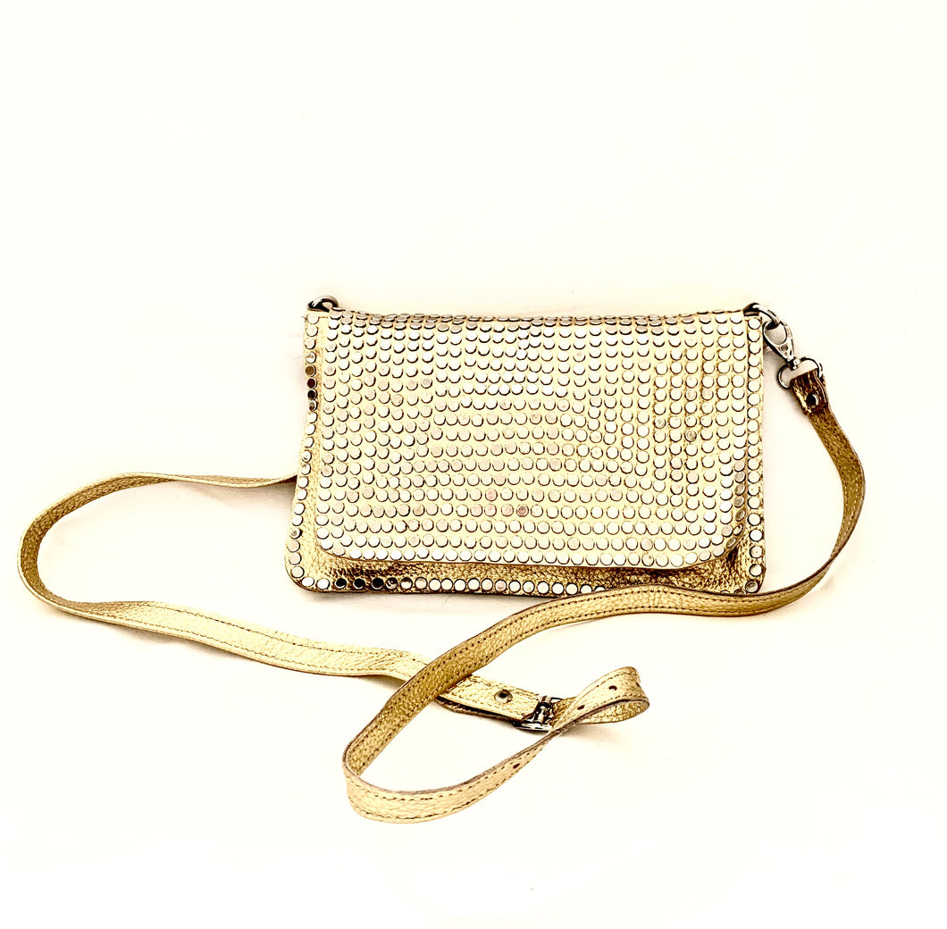 Gold handbag with silver studs