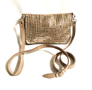 taupe crossbody bag with studs