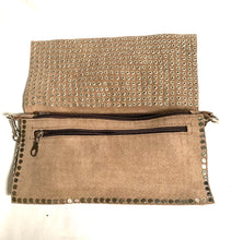 Load image into Gallery viewer, Handmade studded suede bag taupe
