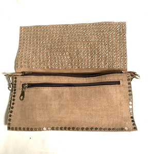Handmade studded suede bag taupe