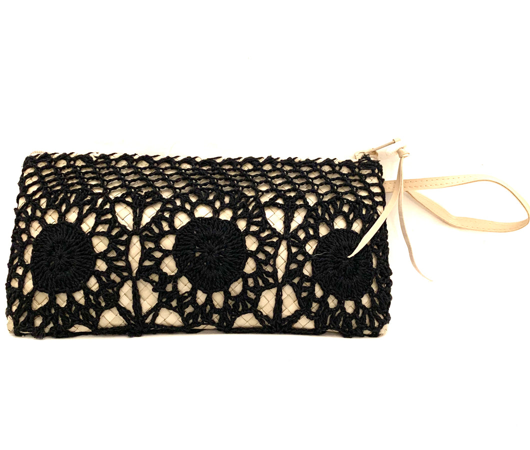 Palm grass clutch with crochet
