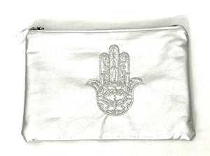 hand of Fatima zip up silver pouch