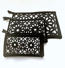 Load image into Gallery viewer, Islamic pattern cut out pouches - Black and silver
