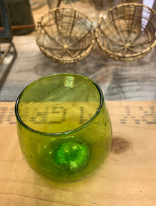 Green recycled glass votive