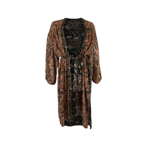 Kaftan Copper and black prints with beautiful gold painted detail