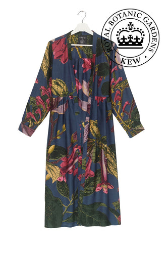 Magnolia duster coat in blue with shocking pink flowers