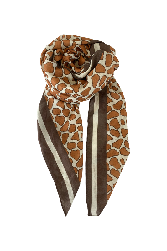 animal print scarf in camel