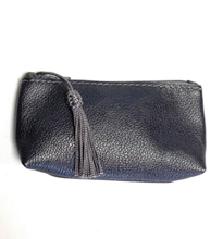 Load image into Gallery viewer, Real leather zip up coin purse with tassel