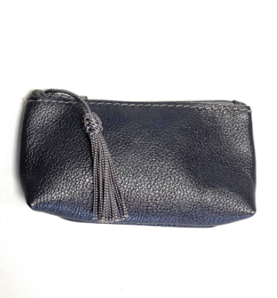 Real leather zip up coin purse with tassel