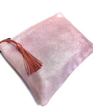Load image into Gallery viewer, pink Moroccan leather zip up clutch bag with tassel