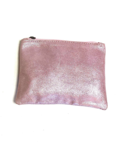 pink Moroccan leather zip up clutch bag with tassel