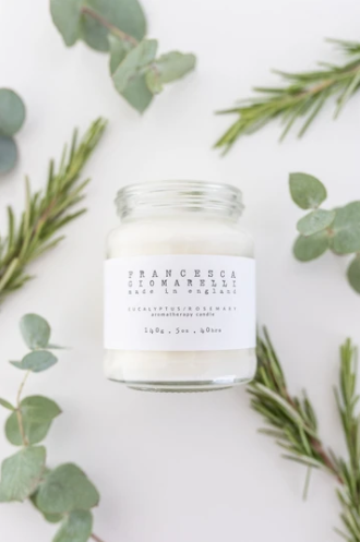 Rosemary and eucalyptus eco friendly aromatherapy candle