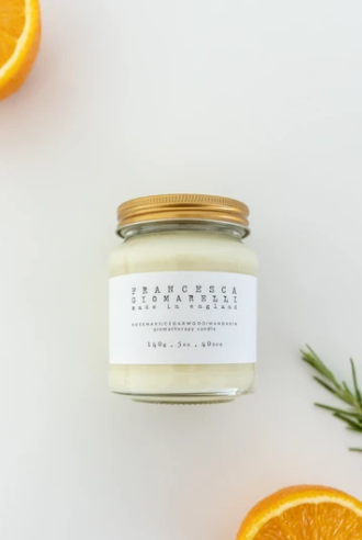rosemary cedarwood aromatherapy soy wax candle