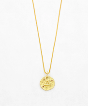 Load image into Gallery viewer, Wolf and gypsy gold zodiac earth element coin necklace