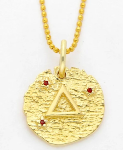 Wolf and gypsy gold zodiac earth element coin necklace