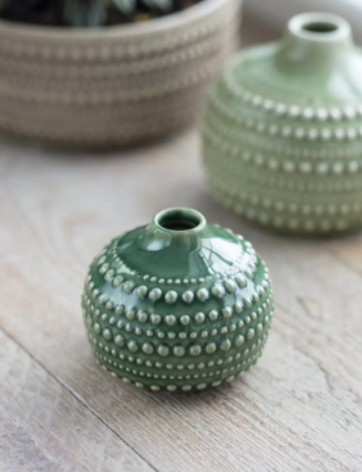 Small Green Castello Ceramic Bulb Vase