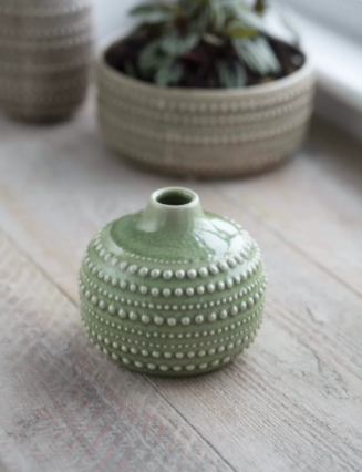Medium Castello Ceramic Sage Green Bulb Vase