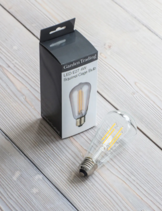 Squirrel cage filament light bulb