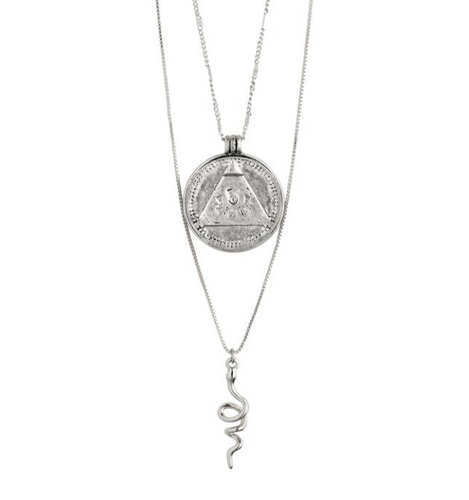 Pilgrim Sensitivity Silver Plated Coin and Snake Necklace Duo