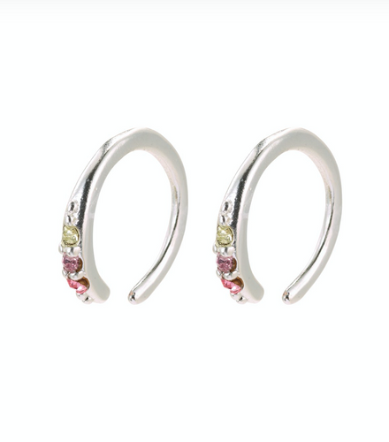 Abril Silver Plated Multi Colour Mini Hoops