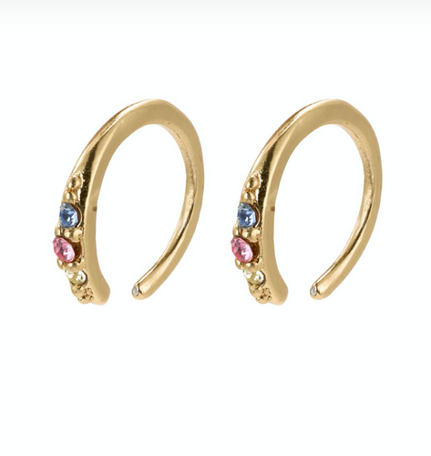 Pilgrim Abril Gold Plated Multi Colour Mini Hoops