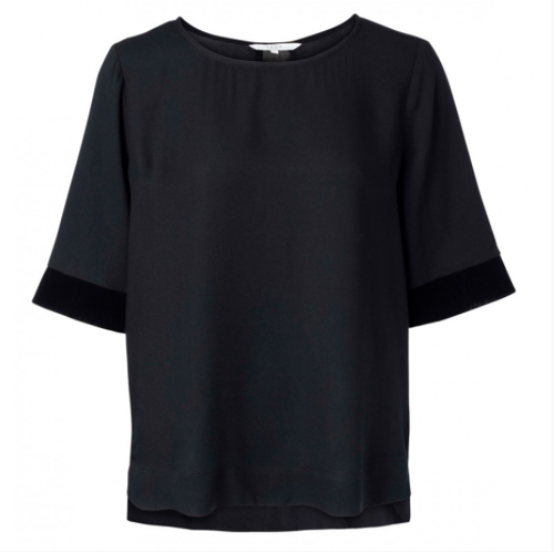 Regular Fit Elegant Tshirt Top With Black Velvet Cuffs And Back