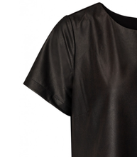 Load image into Gallery viewer, Faux Leather T Shirt Top Mixed With Jersey Back