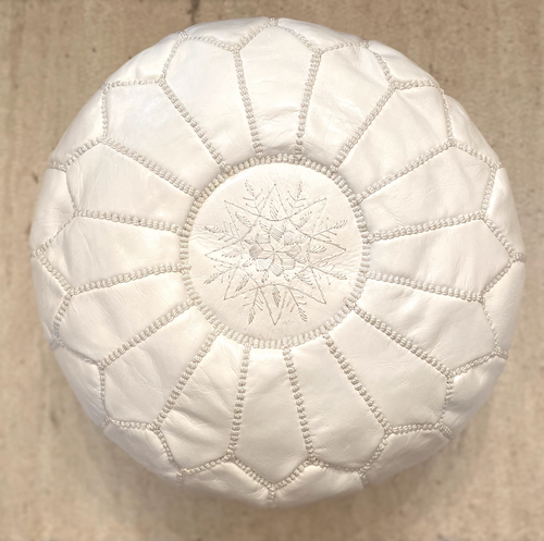 White Moroccan Leather Pouffe