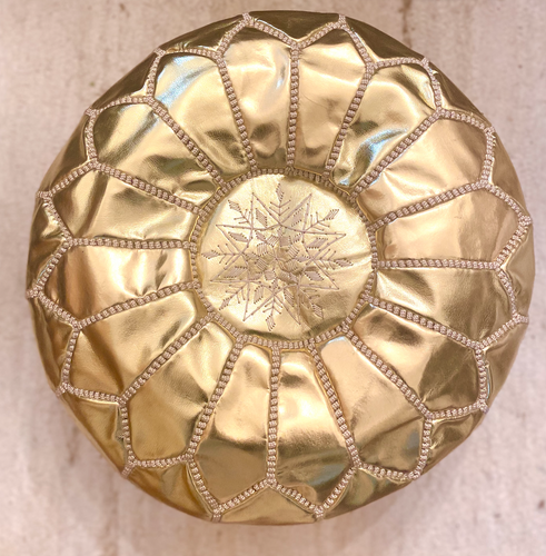 Gold Moroccan Leather Pouffe