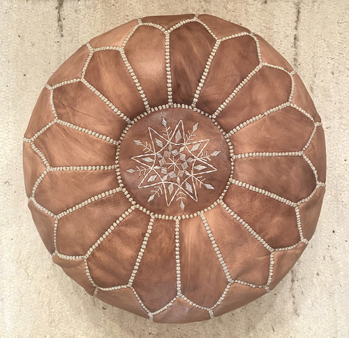 Natural Tan Stitched Moroccan Leather Pouffe