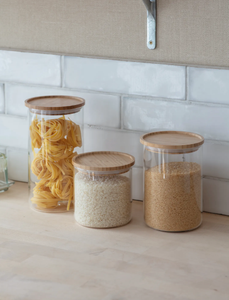 Audley Glass & Bamboo Storage Jar | Large