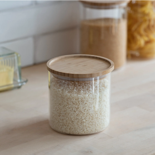 Audley Glass & Bamboo Storage Jar | Small