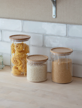 Load image into Gallery viewer,  Audley Glass & Bamboo Storage Jar | Small