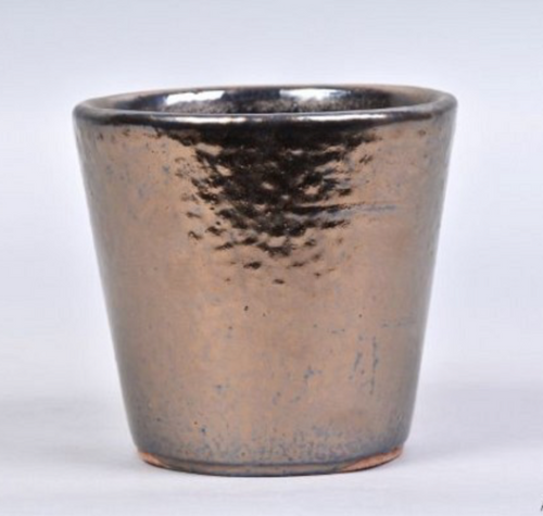 Shiny bronze glazed pot 13 X 12cm