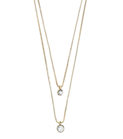 Lucia gold plated double chain crystal necklace