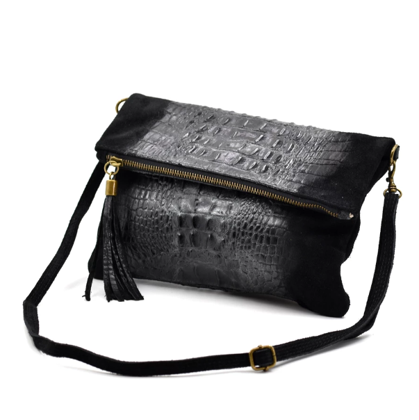Black Italian suede croc detail bag