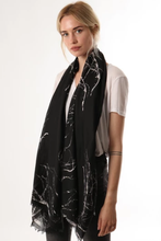 Load image into Gallery viewer, Tree branch print black scarf