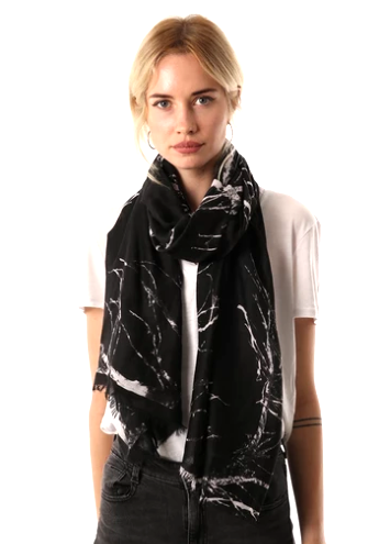 Tree branch print black scarf