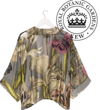 Load image into Gallery viewer, KEW botanical gardens iris grey kimono one hundred stars
