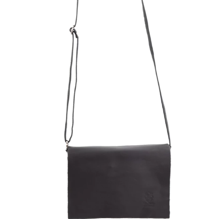 Dark grey Italian leather classic cross body bag tempest designs
